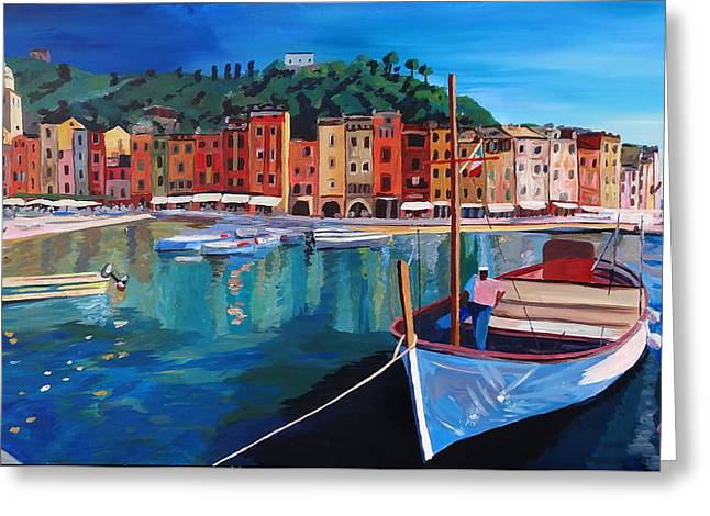Portofino Italy Art Greeting Cards - Tranquility in the Harbour of Portofino Greeting Card by M Bleichner