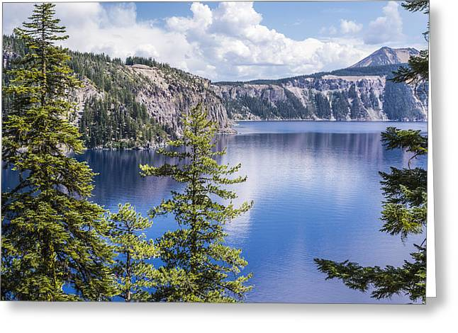 Crater Lake View Greeting Cards - Tranquility Greeting Card by Joseph S Giacalone