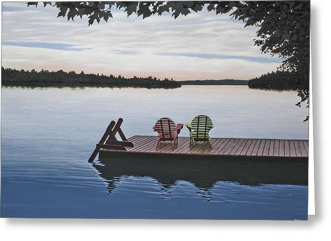 Canoe Greeting Cards - Tranquility Greeting Card by Kenneth M  Kirsch