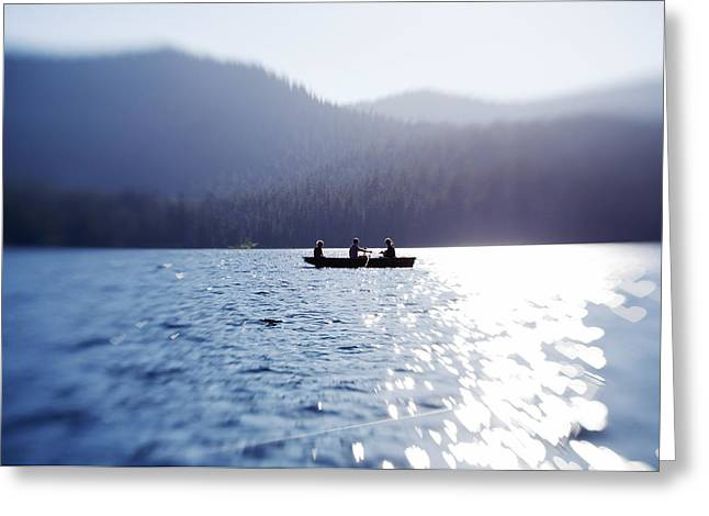 Canoe Greeting Cards - Tranquility on the Lake Greeting Card by Crystal Cox