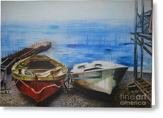 Sea Platform Paintings Greeting Cards - Tranquility Till Tide from The Farewell Songs Greeting Card by Prasenjit Dhar