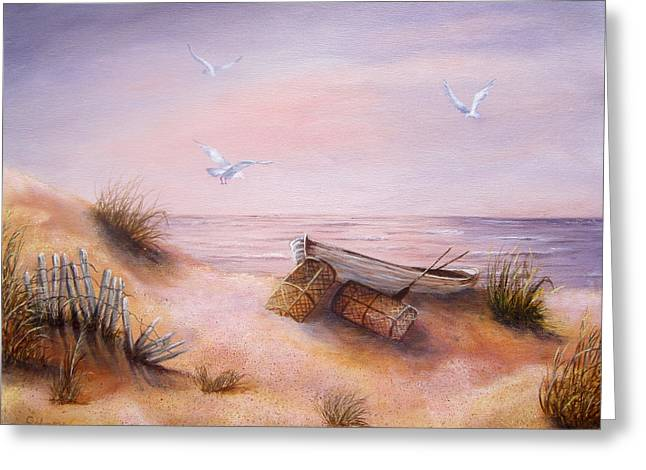Sand Fences Paintings Greeting Cards - Tranquility Greeting Card by Roseann Gilmore