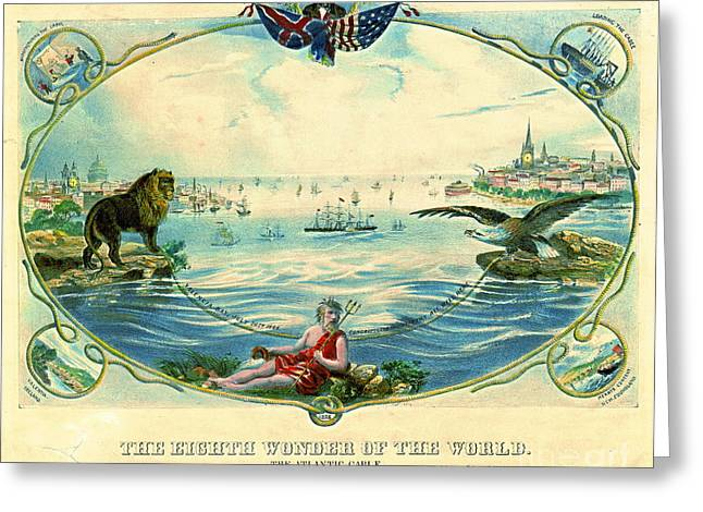 Trans-atlantic Greeting Cards - Trans-Atlantic Cable 1866 Greeting Card by Padre Art