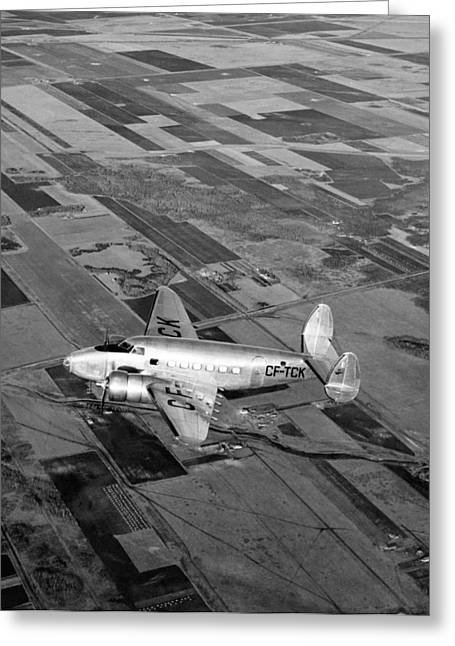 Canadian Prairie Landscape Greeting Cards - Trans-Canada Passenger Plane Greeting Card by Underwood Archives