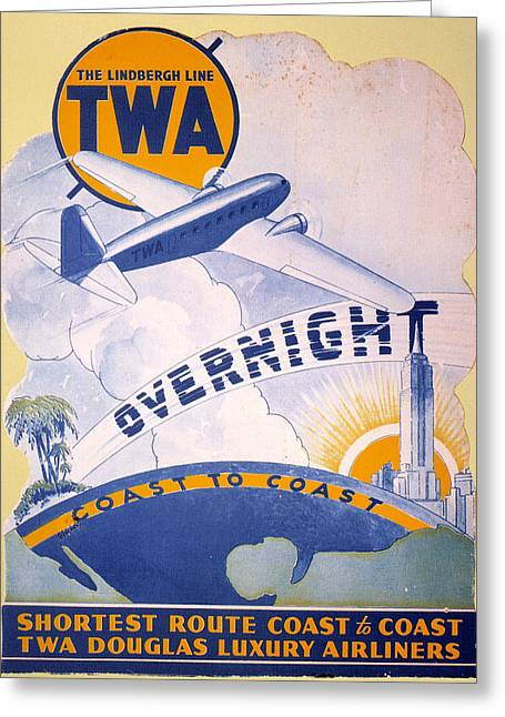 Nyc Posters Photographs Greeting Cards - Trans-world Airlines 1934 Greeting Card by Granger