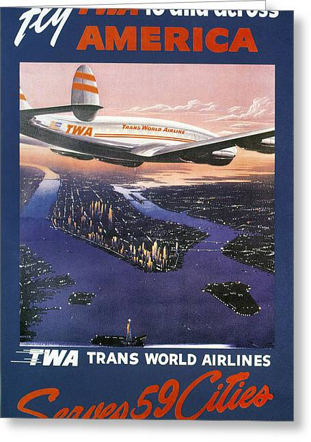 Nyc Posters Photographs Greeting Cards - TRANS-WORLD AIRLINES 1950s Greeting Card by Granger