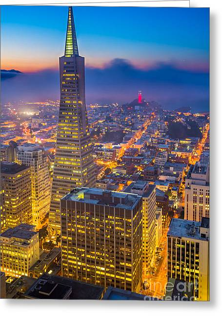 Foggy Landscapes Greeting Cards - TransAmerica Cityscape Greeting Card by Inge Johnsson