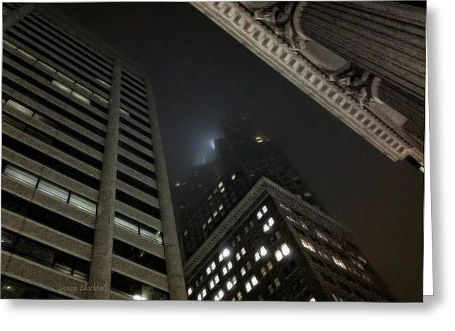 Street Art For The Home Greeting Cards - Transamerica Fog Greeting Card by Donna Blackhall