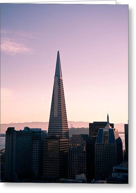 Downtown San Francisco Greeting Cards - Transamerica Pyramid Greeting Card by Zina Zinchik