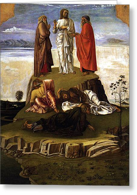Lamb Of God Paintings Greeting Cards - Transfiguration of Christ on Mount Tabor 1455 Giovanni Bellini Greeting Card by Karon Melillo DeVega