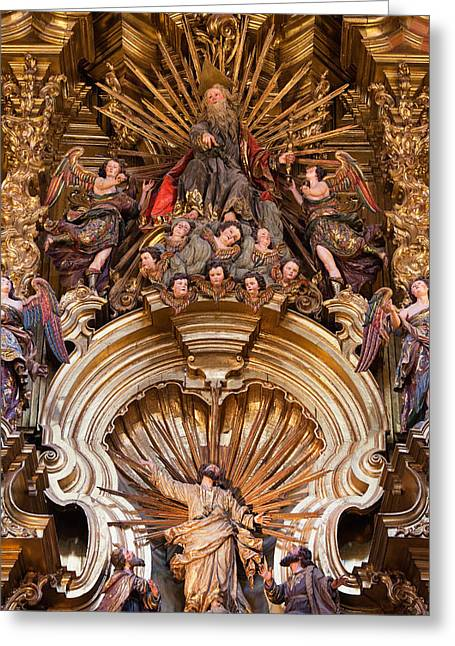 Spanish Art Sculpture Greeting Cards - Transfiguration of the Lord on Mount Tabor in Sevilla Cathedral Greeting Card by Artur Bogacki