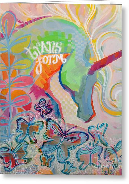 Mixed Media Paintings Greeting Cards - Transform Greeting Card by Kimberly Santini