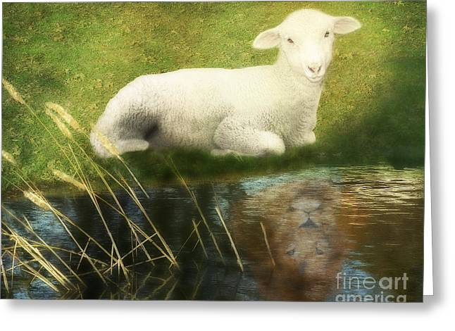 Lion And Lamb Greeting Cards - Transformation Lamb or Lion Greeting Card by Constance Woods