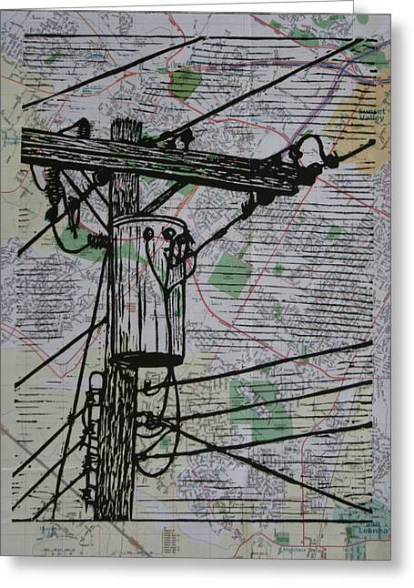 Linocut Linoluem Greeting Cards - Transformer on Map Greeting Card by William Cauthern