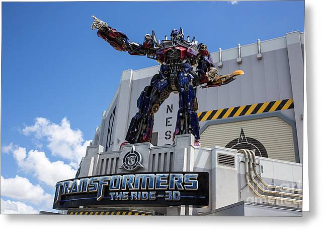 Amusement Ride Greeting Cards - Transformers The Ride 3D Universal Studios Greeting Card by Edward Fielding
