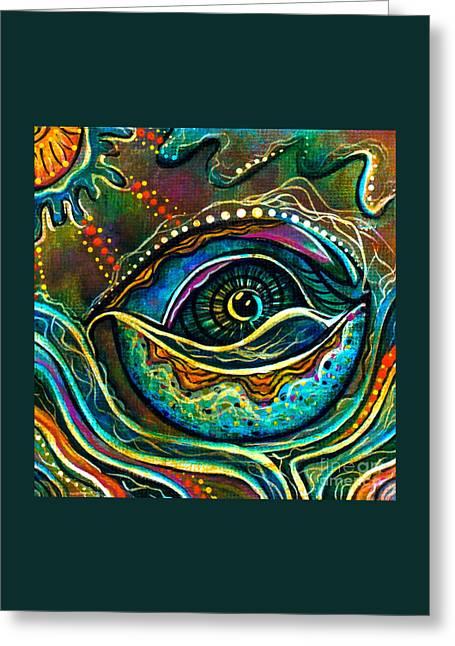 Brow Chakra Greeting Cards - Transitional Spirit Eye Greeting Card by Deborha Kerr
