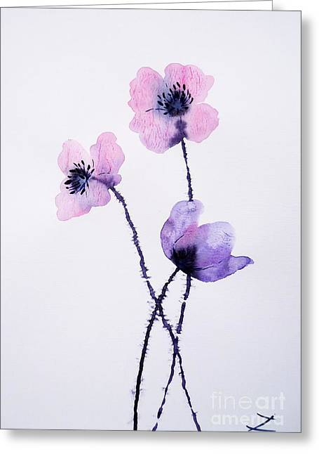 Zaira Dzhaubaeva Greeting Cards - Translucent Poppies Greeting Card by Zaira Dzhaubaeva