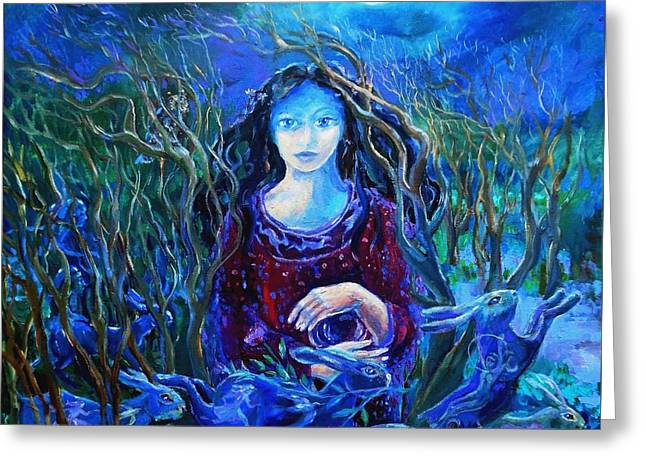 Warrior Goddess Greeting Cards - Eostra Holds the Moon Greeting Card by Trudi Doyle