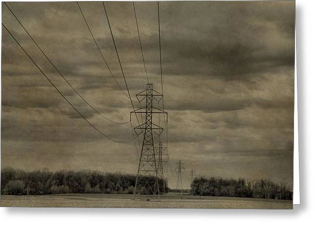 Volt Greeting Cards - Transmission Towers Greeting Card by Dan Sproul
