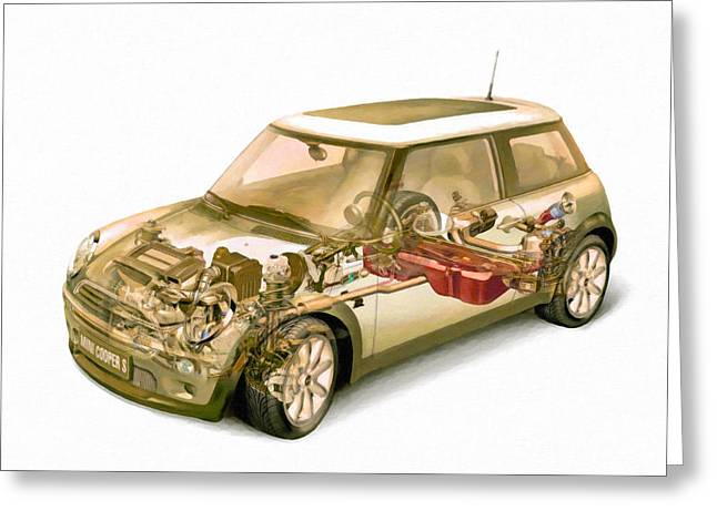 Steering Paintings Greeting Cards - Transparent Car Concept Made In 3d Graphics 5 Greeting Card by Lanjee Chee