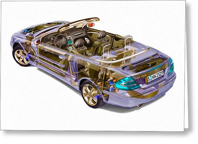 Steering Paintings Greeting Cards - Transparent Car Concept Made In 3d Graphics 6 Greeting Card by Lanjee Chee