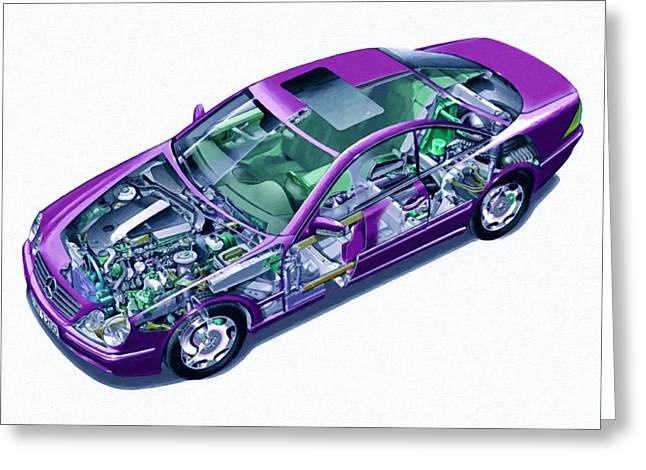 Steering Paintings Greeting Cards - Transparent car concept made in 3D graphics 8 Greeting Card by Lanjee Chee