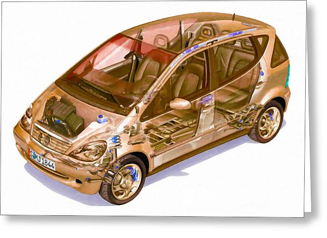 Steering Greeting Cards - Transparent Car Concept Made In 3d Graphics 9 Greeting Card by Lanjee Chee