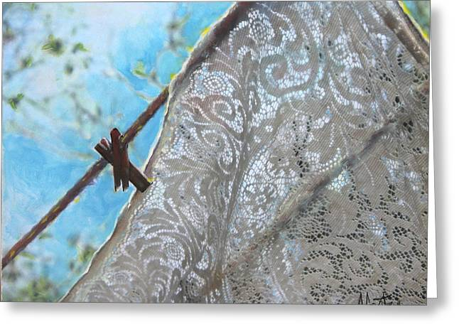 Transparent Clothes Greeting Cards - Transparent Lace Clothesline Series Greeting Card by Anne Goetze