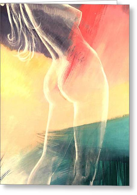Hands Behind Head Greeting Cards - Transparent Nude Greeting Card by Art By Tolpo Collection