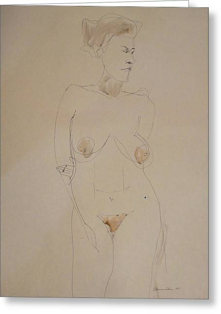 Transparent Drawings Greeting Cards - Transparent Nude Greeting Card by Esther Newman-Cohen