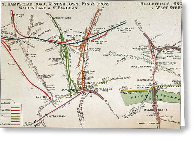Transport Map Of London Greeting Card by English School