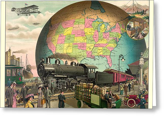 Lithography Greeting Cards - Transportation Greeting Card by Gary Grayson