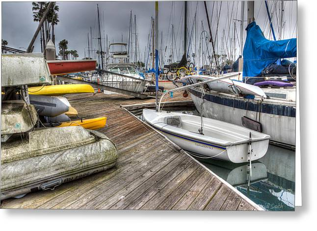 Docked Boat Greeting Cards - Transportation Greeting Card by Heidi Smith