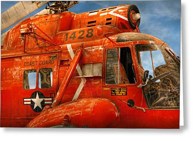 Transportation - Helicopter - Coast Guard Helicopter Greeting Card by Mike Savad