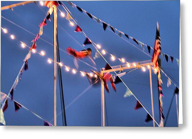 Trapeze Blur Greeting Card by Dan Sproul
