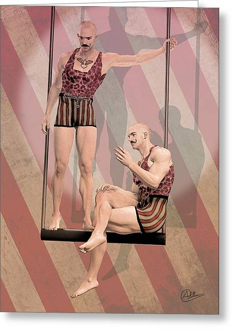Tightrope Greeting Cards - Trapezist brothers By Quim Abella Greeting Card by Joaquin Abella