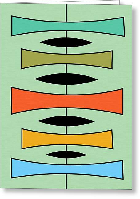 Avocado Green Greeting Cards - Trapezoids 2 Greeting Card by Donna Mibus