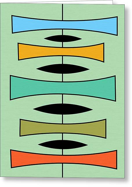 Avocado Green Greeting Cards - Trapezoids Greeting Card by Donna Mibus