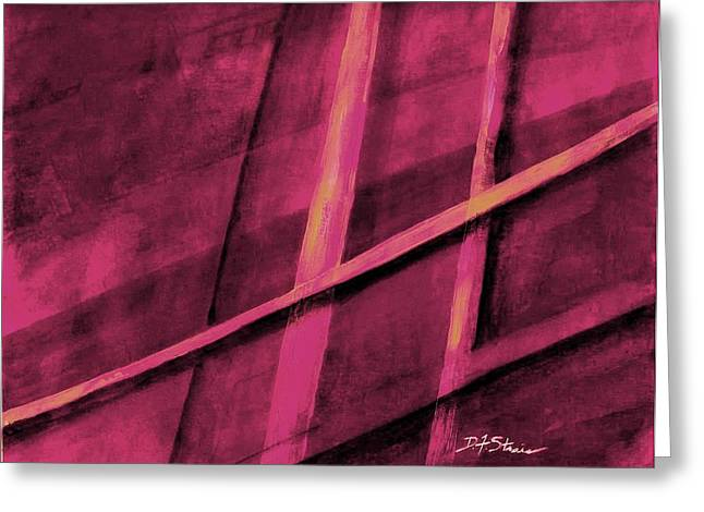 Vertical Red Abstract Art On Canvas Greeting Cards - Trapped    Number 1 Greeting Card by Diane Strain