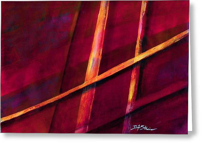 Vertical Red Abstract Art On Canvas Greeting Cards - Trapped    Number 10 Greeting Card by Diane Strain