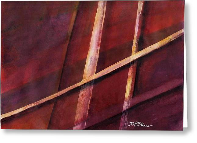 Vertical Red Abstract Art On Canvas Greeting Cards - Trapped    Number 16 Greeting Card by Diane Strain