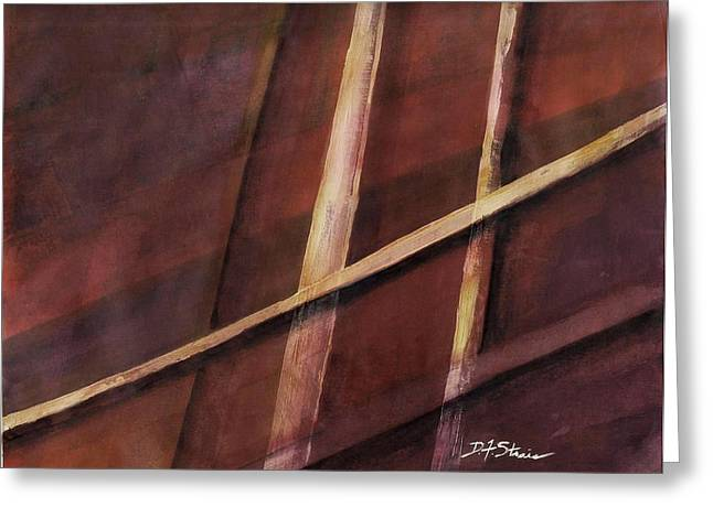 Vertical Red Abstract Art On Canvas Greeting Cards - Trapped    Number 17 Greeting Card by Diane Strain