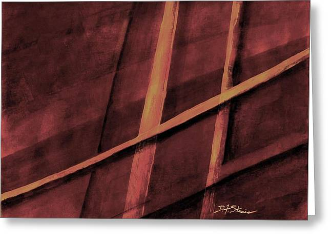 Vertical Red Abstract Art On Canvas Greeting Cards - Trapped    Number 20 Greeting Card by Diane Strain