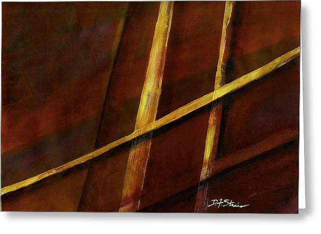 Vertical Red Abstract Art On Canvas Greeting Cards - Trapped    Number 21 Greeting Card by Diane Strain