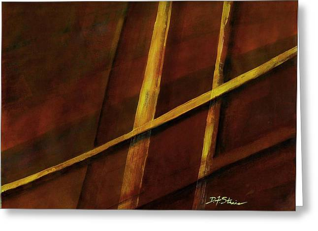 Vertical Red Abstract Art On Canvas Greeting Cards - Trapped    Number 23 Greeting Card by Diane Strain