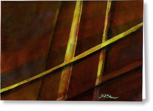 Vertical Red Abstract Art On Canvas Greeting Cards - Trapped    Number 24 Greeting Card by Diane Strain