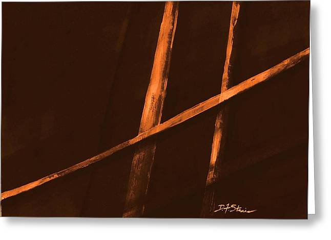 Vertical Red Abstract Art On Canvas Greeting Cards - Trapped    Number 4 Greeting Card by Diane Strain