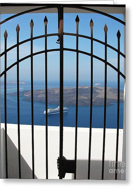 Boat Cruise Greeting Cards - Trapped On Santorini Greeting Card by Mel Steinhauer