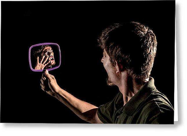 Self-portrait Greeting Cards - Trapped Reflection Greeting Card by Brian Yasumura Jr