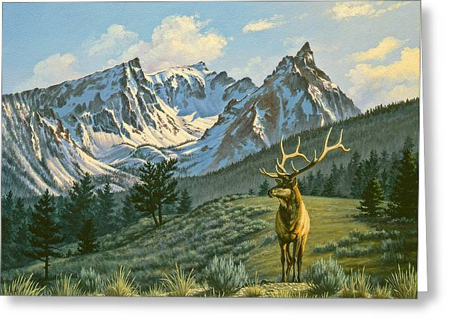 Trappers Greeting Cards - Trapper Peak - Bull Elk Greeting Card by Paul Krapf